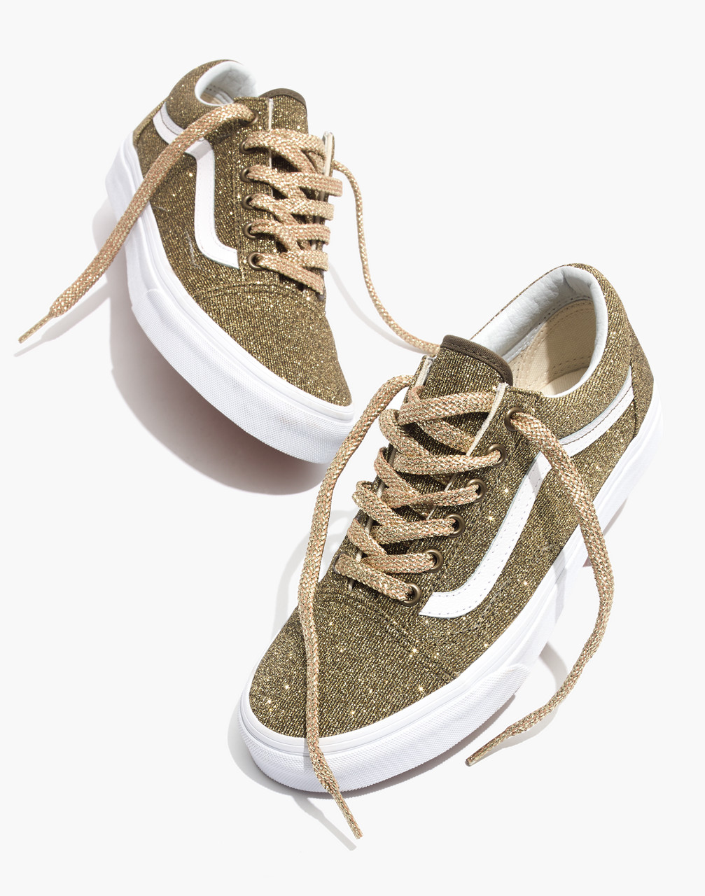 Vans Unisex Old Skool Lace-Up Sneakers in Gold Glitter