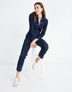 Denim Puff-Sleeve Jumpsuit