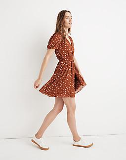 Smocked-Waist Mini Dress in Inkspot Dots