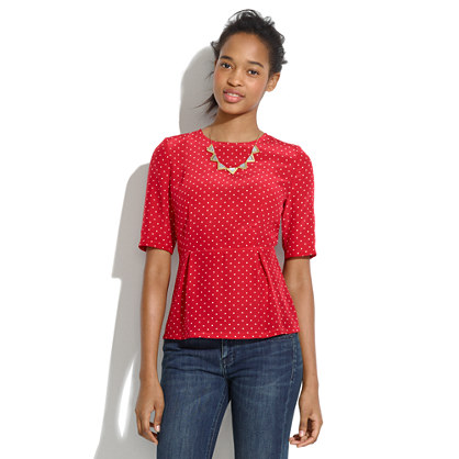 Silk Peplum Top in Minidot