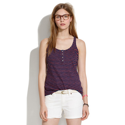 Indigo Ink Henley Tank in Stripe