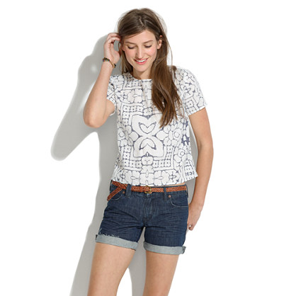 Denim Midi Shorts in Bluejay Wash