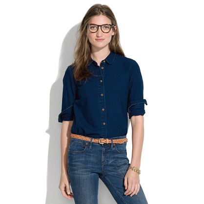 Indigo Denim Collared Shirt Chambray Denim Shirts