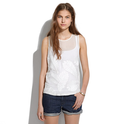 Silk-Front Embroidery Tank