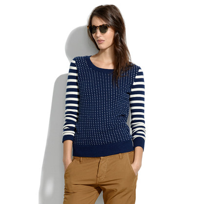 Striped Bird's-Eye Sweater