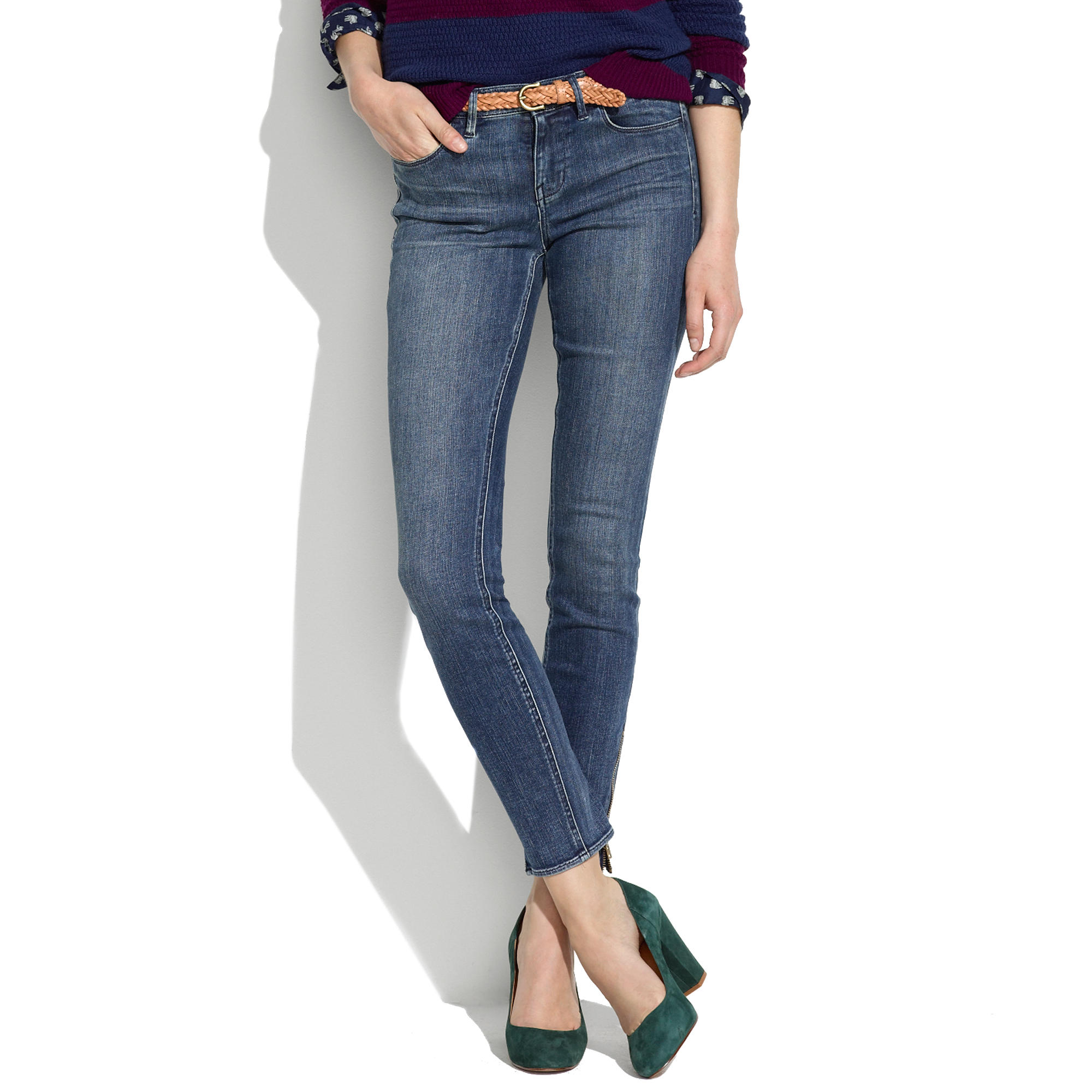 Skinny Skinny Ankle-Zip Jeans in Pool Wash : skinny jeans | Madewell