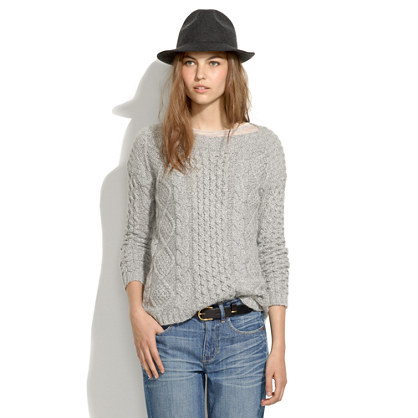 Boatneck Cableknit Sweater : sale | Madewell