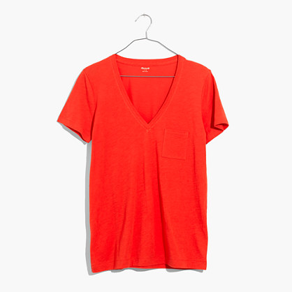 Whisper Cotton V-Neck Pocket Tee