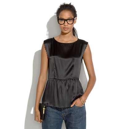 Silk Scallop Peplum Top