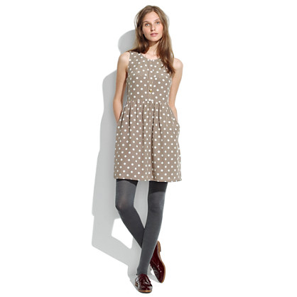 Shirred Silk Dress in Dot