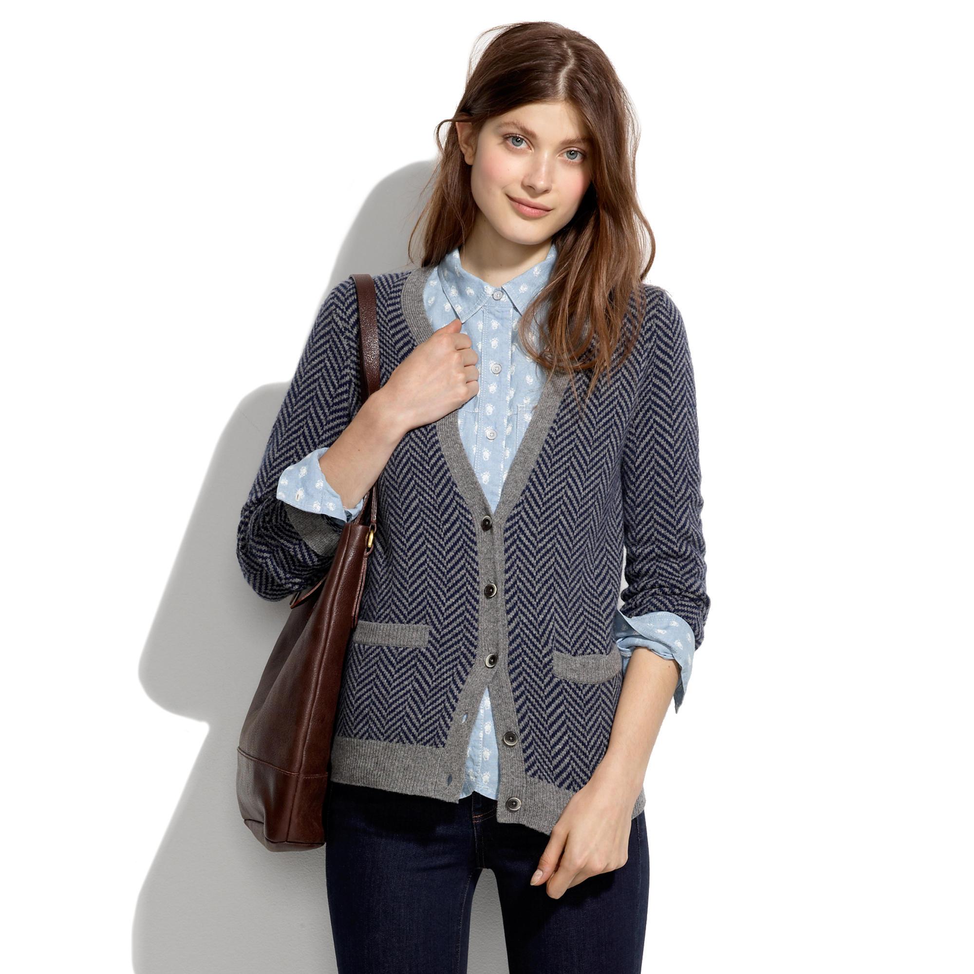 Journal Cardigan in Herringbone : cardigans & sweater-jackets ...