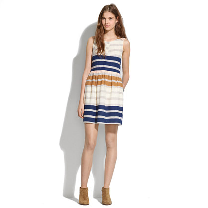 Shirred Silk Dress in Hazestripe