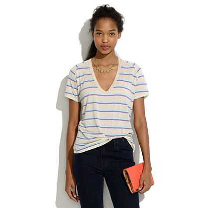 Striped Boyfriend V-Neck Tee