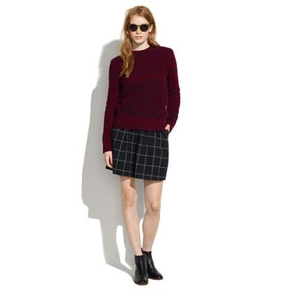 Windowpane Plaid Skirt