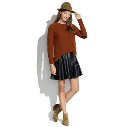 Leather Skater Skirt : SKIRTS | Madewell
