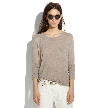 Long-Sleeve Drape Tee in Heather