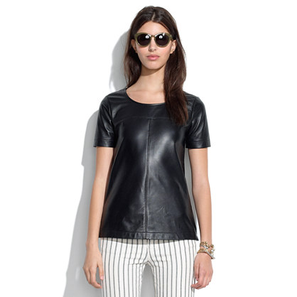 Paneled Leather Tee