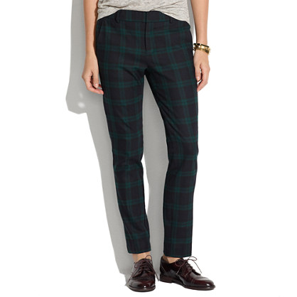 Flat-Front Trousers in Dark Plaid