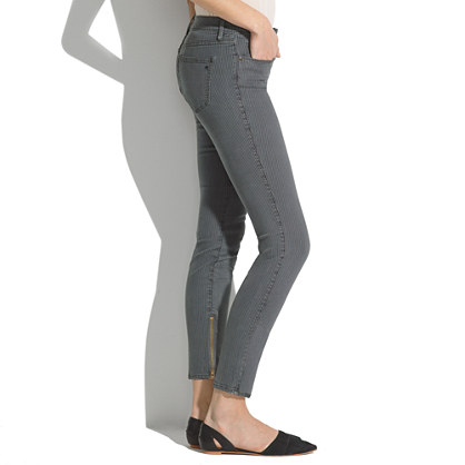 Skinny Skinny Zip Jeans in Grey Railroad