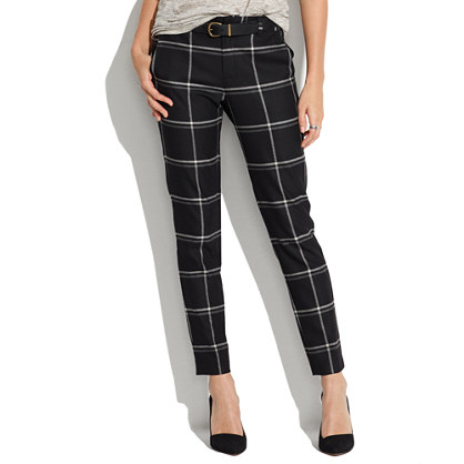 Flat-Front Trousers in Windowpane Plaid