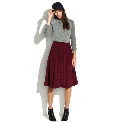 Silk Pleated Skirt in Tile Dot