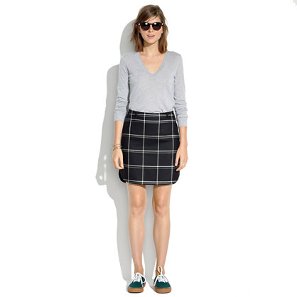 Shirttail Skirt in Windowpane Plaid