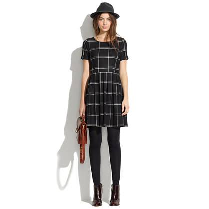 Twirl Dress in Windowpane Plaid
