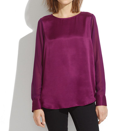 Silk Sheer-Panel Blouse