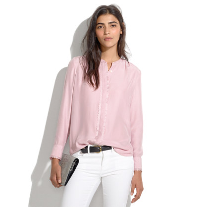 Silk Scallop-Trim Blouse