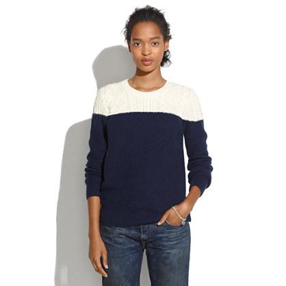 Colorblock Cableknit Sweater