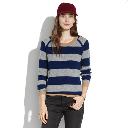Simple Cashmere Waffle Sweater in Stripe