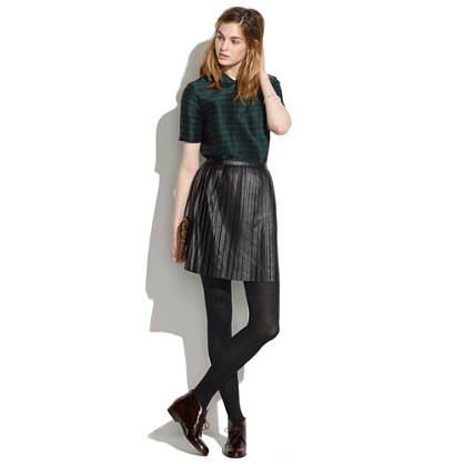Leather Knife-Pleat Skirt