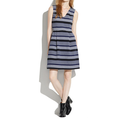 Gallerist Ponte V-Neck Dress in Stripemix