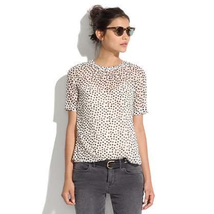 Shirred Top in Stamp Dot