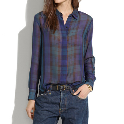 Silk Bromley Blouse in Dark Plaid
