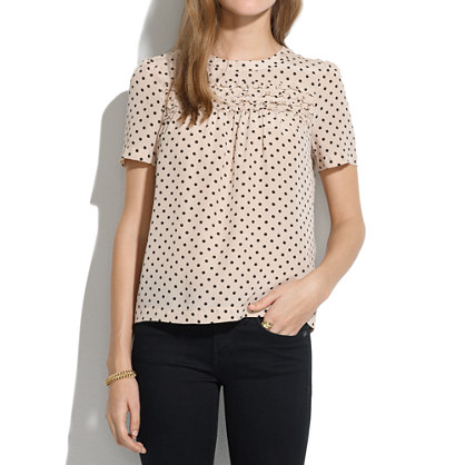 Silk Scallop-Ruffle Tee in Dot