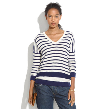 Slub V-Neck Sweater in Stripeblock