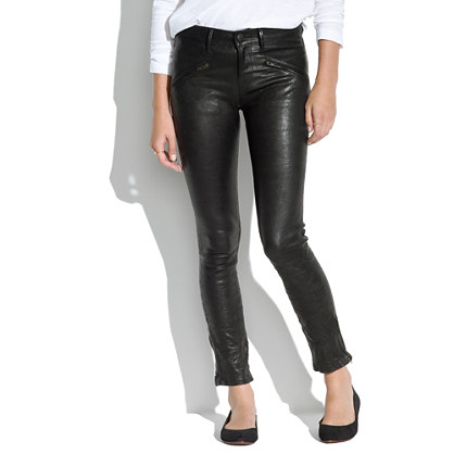 Leather Ankle-Zip Pants