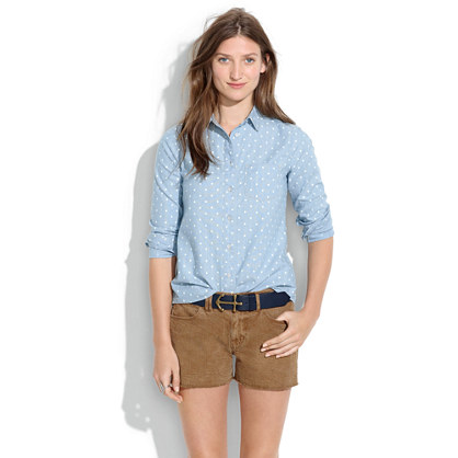 Denim Cutoff Shorts in Kraft Brown