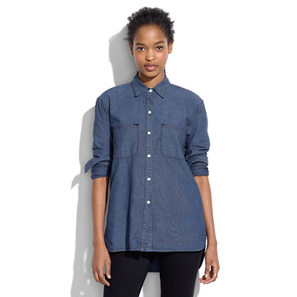 Shop Old Navy's Chambray Boyfriend Shirt for Girls: Pointed collar.,Long sleeves, with buttoned cuffs.,Seamed back yoke, with central pleat.,Six-button placket.
