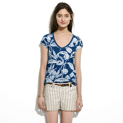 Denim Cutoff Shorts in Twin Stripe