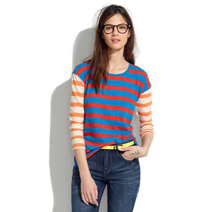 Long-Sleeve Tee in Colorblock Stripe