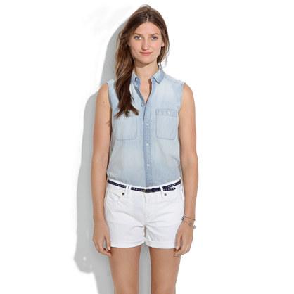 Denim Midi Shorts in White Wash : DENIM | Madewell
