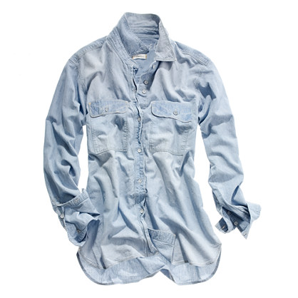 Chambray Cargo Shirt in Cornflower Wash