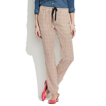 Silk Drawstring Pants in Checkbox