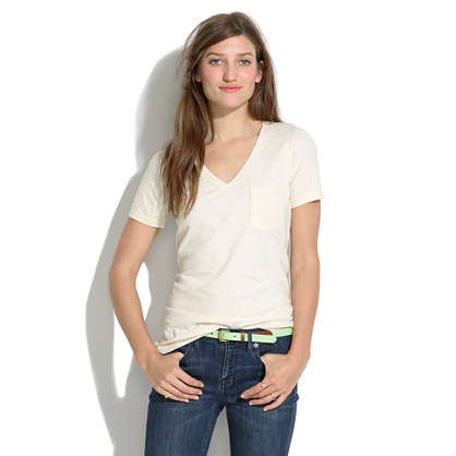 V-Neck Pocket Tee in Colorfleck