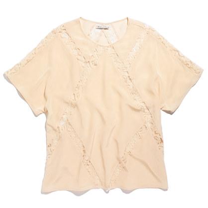 Silk Lace-Panel Tee