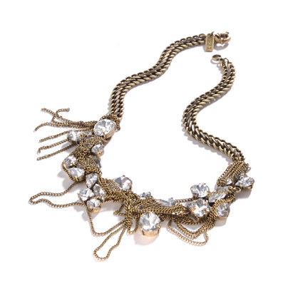 Crystals & Chain Fringe Necklace