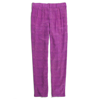 Silk Trousers in Minicheck