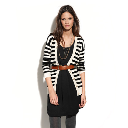 Velvet-Stripe Cardigan